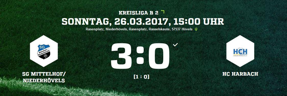 SG Mittelhof/Niederhövels – Hobbyclub Harbach 3-0